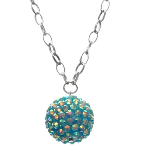 Blue Beaded Fireball Charm Chain Necklace