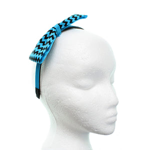 Blue Zigzag Chevron Ribbon Bow Headband