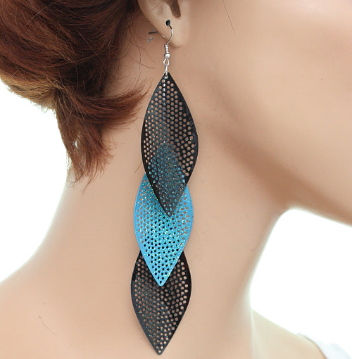Blue Almond-shaped Earrings
