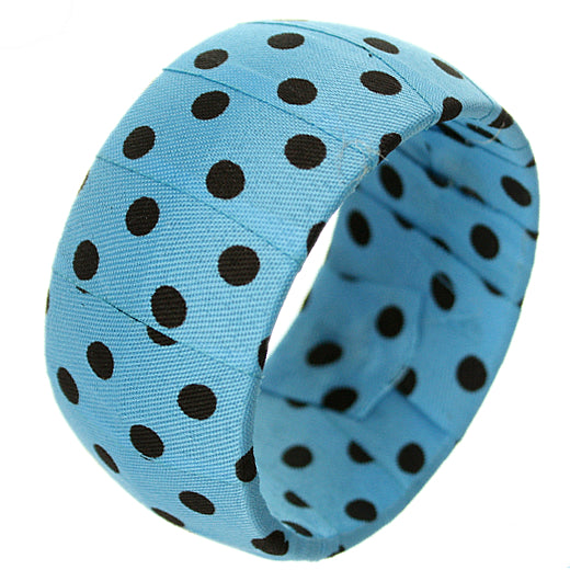 Blue Black Polka Dot Bangle Bracelet