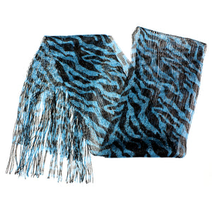 Blue Lightweight 3 in 1 Zebra Print Sheer Scarf