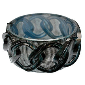 Blue Chain Link Texture Hinged Bracelet