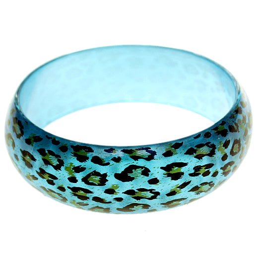 Blue Cheetah Print Glossy Bangle Bracelet