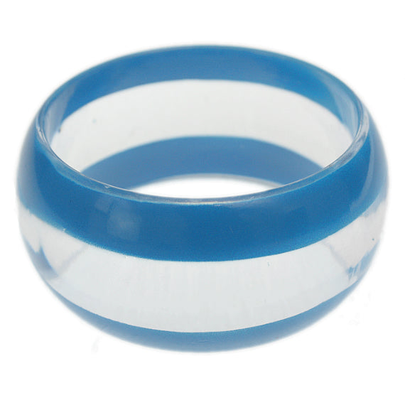 Blue Clear Striped Round Bangle Bracelet