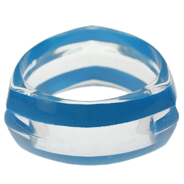 Blue Clear Striped Triangular Bangle Bracelet