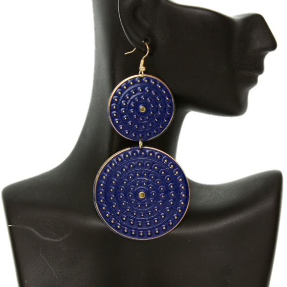 Blue Round Double Disk Dangle Earrings