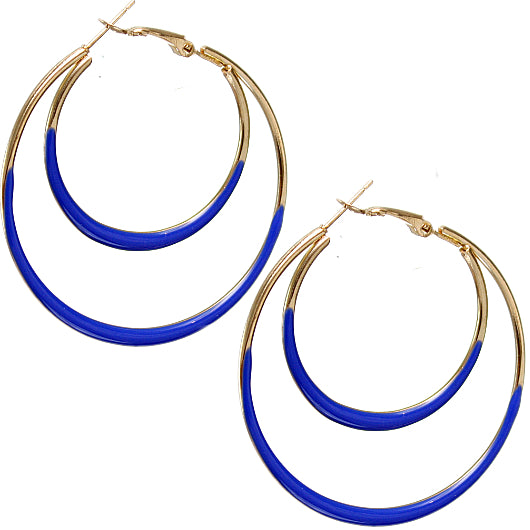 Blue loop hoop earrings