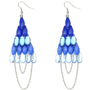 Blue Faceted Drop Chain Chandelier Earrings
