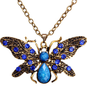 Blue Rhinestone Butterfly Charm Chain Necklace