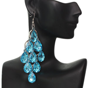 Blue Faceted Teardrop Chandelier Earrings