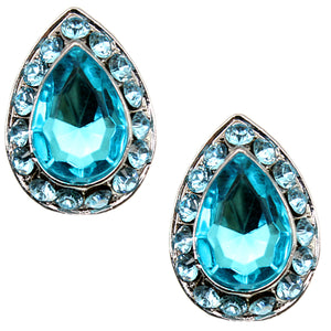 Blue Teardrop Gemstone Post Earrings
