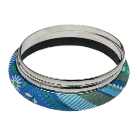 Blue Multicolor Fabric Wrapped Bangle Bracelet Set