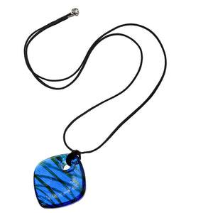 Blue Glass Murano Cord Charm Necklace