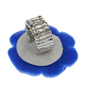 Blue Large Glitter Flower Stretch Ring