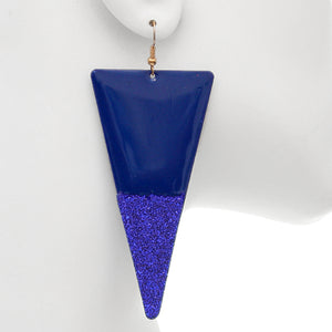 Blue Glitter Inverted Triangle Earrings