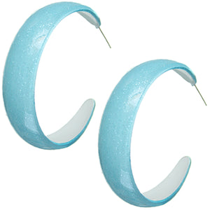 Blue Glossy Glitter Hoop Earrings