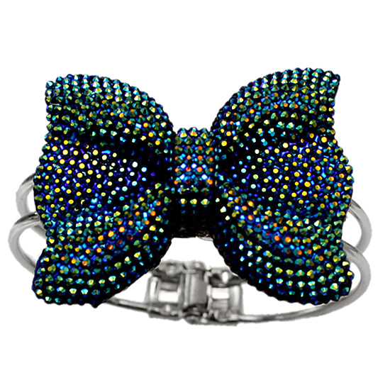 Blue Glitter Large Bow Hinged Bracelet
