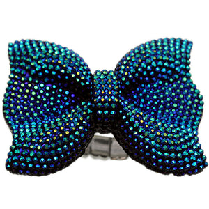 Blue Green Large Sparkle Bow Stretch Ring