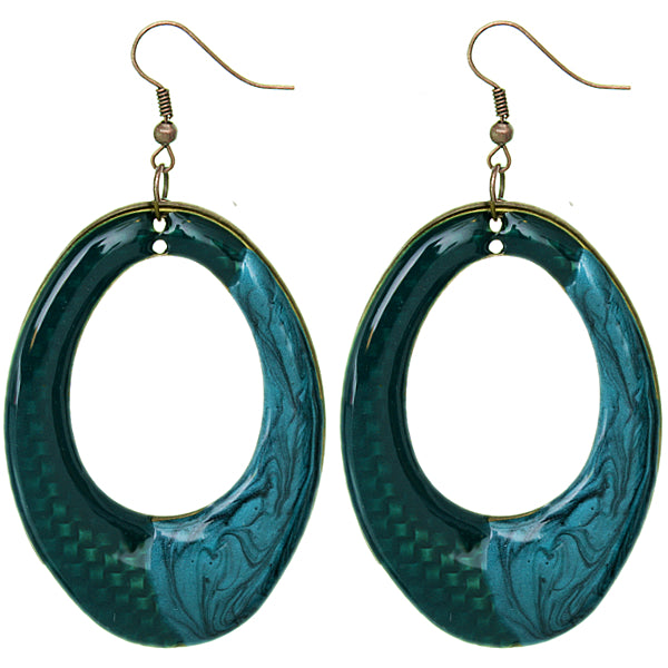 Blue Oval Shaped Lacquered Drop Earrings