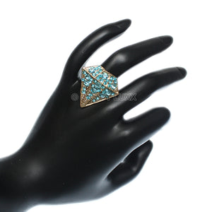 Blue Diamond Shaped Rhinestone Adjustable Ring