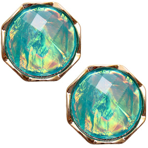 Blue Gold Iridescent Faux Gemstone Post Earrings