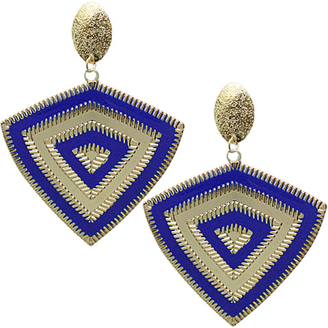 Blue Inverted Triangle Frost Earrings