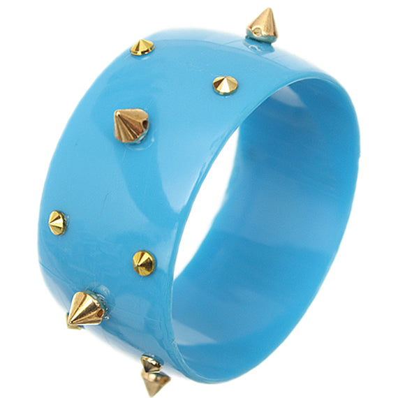 Blue Spiked Bangle Bracelet