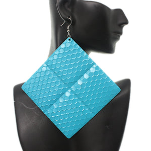 Blue Oversized Hammered Honeycomb Pyramid Earrings