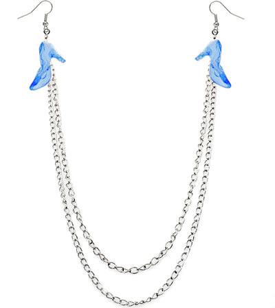 Blue Chain High Heel Necklace Earrings