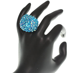 Blue Studded Iridescent Rhinestone Dome Ring