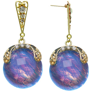 Blue Iridescent Large Gemstone Post Earrings