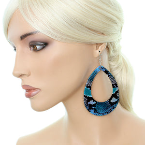 Blue Snakeskin Teardrop Earrings