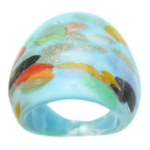 Blue Multicolor Speckled Glass Murano Ring