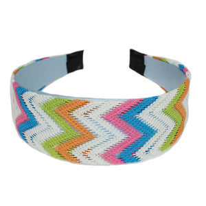 Orange Multicolor Woven Knit Chevron Headband