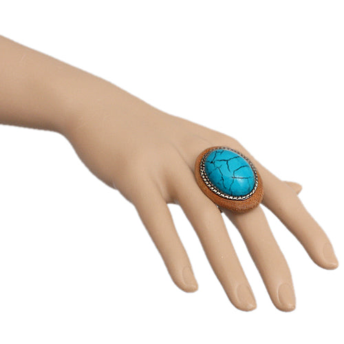 Blue Wooden Crackle Oversized Adjustable Ring