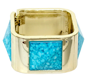 Blue Spotted Pyramid Hinged Bracelet