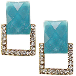 Blue Square Gemstone Post Earrings
