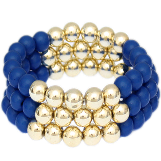 Blue Beaded Round Ball Stretch Bracelets