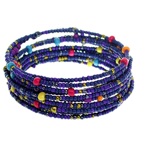 Blue Sequin Beaded Coil Wrap Bracelet