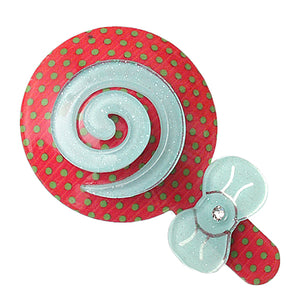 Red Blue Swirl Polka Dot Comic Hair Clip Bow