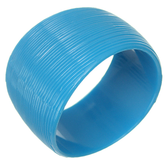 Blue Textured Round Bangle Bracelet