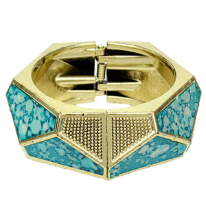Blue Spotted Triangular Hinged Bracelet