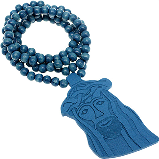 Blue Wooden Beaded Jesus Piece Necklace