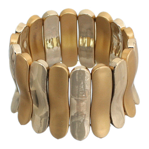 Gold Two Tone Elastic Stretch Bracelet