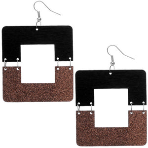 Bronze Black Square Wooden Glitter Link Earrings