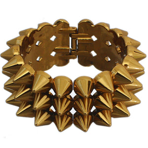 Bronze Three Row Cone Spike Hinged Bracelet