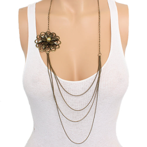 Gold Floral Layered Chain Necklace Set