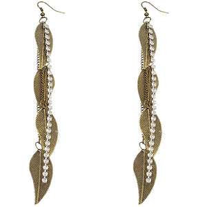 Antique Gold Rhinestone Drop Chain Leaf Earrings