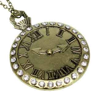 Gold Roman Numeral Chain Clock Charm Necklace