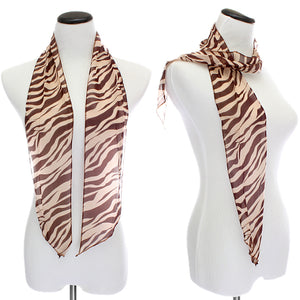 Brown Sheer Chiffon Striped Zebra Print Scarf